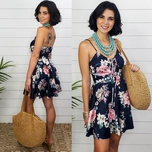 Vienna A-Line Floral Skater Dress- Navy